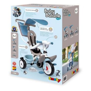 TRICYCLE BABY BALADE PLUS BLEU SMOBY 741400