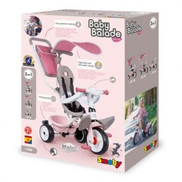 TRICYCLE BABY BALADE PLUS ROSE SMOBY 741401